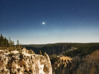 Night Sky And The Grand Canyon Of Yellowstone