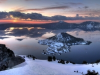 Crater Lake Sunrise And Moon Reflection