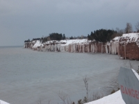 Ice Hanging Down Off The Cliffs Into The Bay Of Chaleur