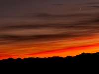 Sierra Sunset And Crescent Moon