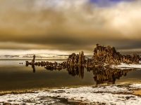 Afternoon Sun Lifts Pogonip Fog Over Mono Lake California