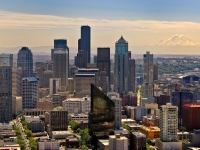 Seattle Cityscape With Mount Rainier