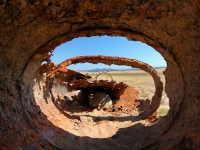Old Boiler On The Dry Lake Bed