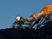 Moonrise At Sunset, Annapurna Circuit,