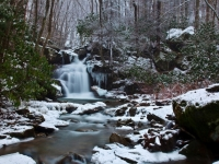 Winter Waterfall Rugged Ravine