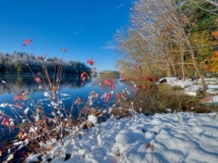 Fall, Reservoir, Red Leaves, Snow, Water, Trees, Sky