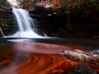 Waterfall Autumn Leaves Pool Of Fire