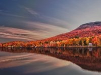 Vermont, Stowe, Lake Elmore, Fall Colors, Moonlight, Hdr