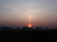 Sun Pillar At Sunrise