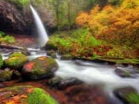 Waterfall With Autumn Colors
