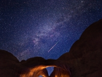 Double Arch Perseid Meteor, Arches National Park