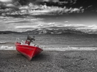 Red Boat At Winter