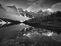 Canadian Rockies, Banff National Park, Moraine Lake, Landscape, Black-white