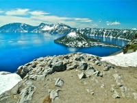 Crater Lake And Snow In Spring