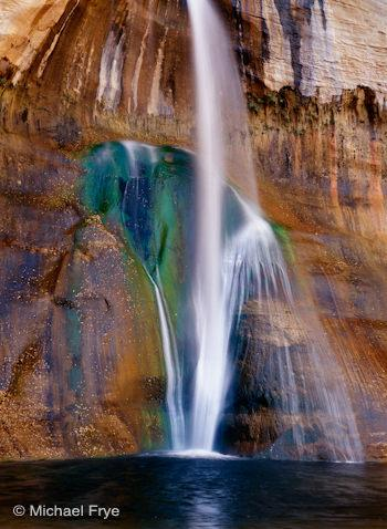 Vertical composition of Lower Calf Creek Fall, Utah, with the waterfall centered
