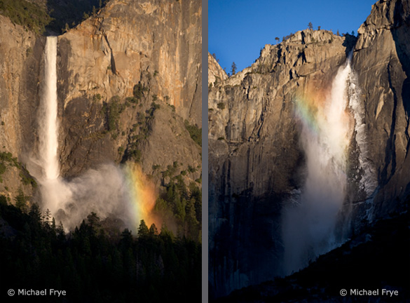 Two examples of off-center vertical compositions: Bridalveil Fall on the left is balanced by the rainbow on the right; Upper Yosemite Fall