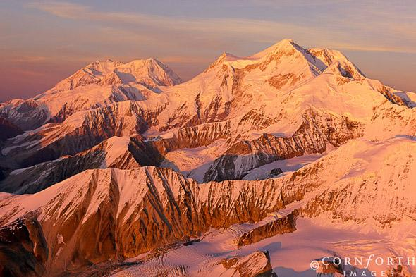 Mt-McKinley-Mt-Foraker-Sunset-Aerial-01_Denali-National-Park-Alaska