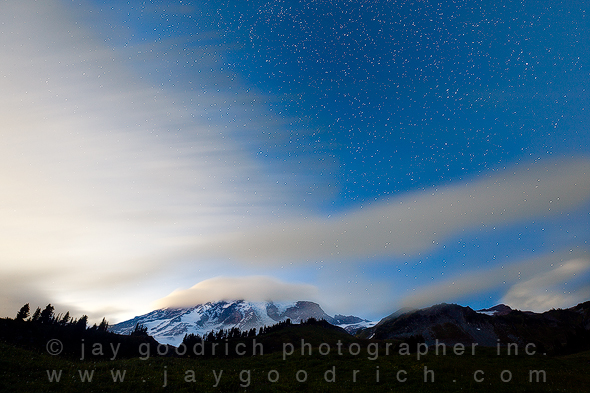 Mount Rainier after Sunset with Stars by Jay Goodrich