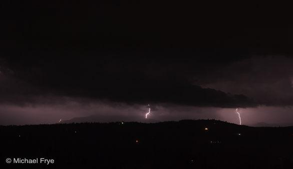 Lightning striking the Sierra foothills near Mariposa on Sunday night