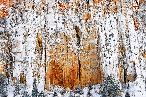 Zion's Sandstone Walls with Late Autumn Snow by Jay Goodrich