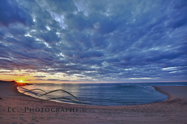 The sun sets over Head of the Meadow Beach, Cape Cod National Seashore, Truro, Massachusetts. HDR.