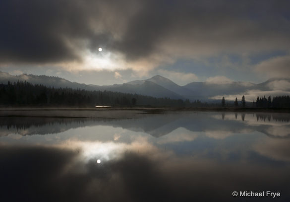 Sun breaking through mist, Tuolumne Meadows, last Friday morning