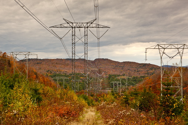High voltage direct current transmission lines in Hebron, New Hampshire.