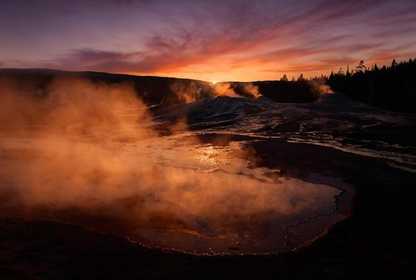 Heart-Spring-and-Lion-Group-Geysers-at-sunset-Upper-Geyser-Basin-Yellowstone-National-Park-Wyoming