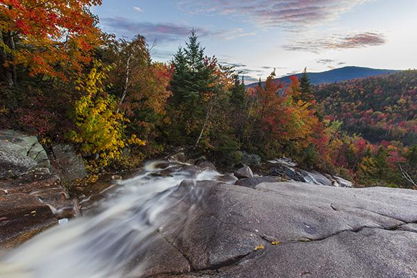 Zealand Falls in fall in new Hampshire's White Mountains.