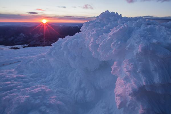 Rime ice at sunrise on the summit of New Hampshire's Mount Washington.