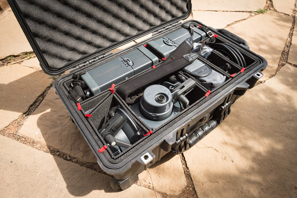 Above is a shot of my Pelican 1510 case with the TrekPak insert set up to carry my Elinchrom Quadra lighting setup. As you can see, I was able to fine tune the dividers to fit the gear just as I needed it to. The TrekPak dividers even allow for diagonal dividers. To create extra space I added the diagonal divider next to the flash head so that I could store a few more cords—and maximize the usable space. If I need to re-organize the dividers, say for camera gear, it is just a matter of removing the pins and rebuilding the divider setup. If you have ever struggled with Velcro padded dividers being generally difficult to deal with then you will love the TrekPak system. You can easily place your gear as you want it in the main compartment and then add the dividers as snugly as you please.