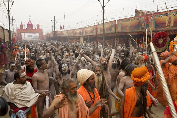 Naga Sadhu Nude sadhus saints yogis take holy dip at Maha Kumbh Festival Allahabad India