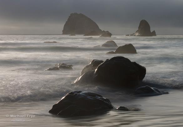 Rocks and sea stacks, late afternoon, Redwood NP, CA, USA