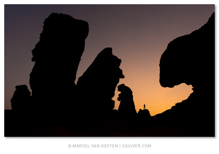 Marsel van Oosten, Marsel, Squiver 'Algerian Giants' – Silhouetted natural rock shapes in a remote part of Algeria. Shot after sunset.