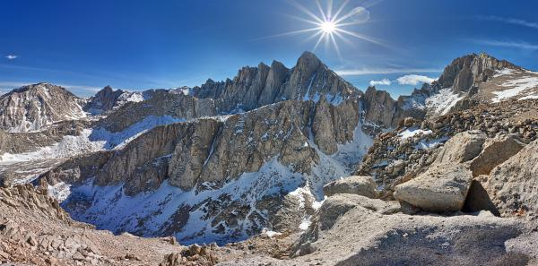 Stitched panorama of Mount Whitney from Russell Plateau AutopanoGiga software SNS-HDR Pro HDR composite California