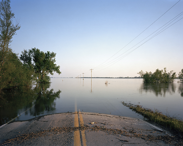 Underwater flooded road and farmland Illinois Mississippi Watershed project