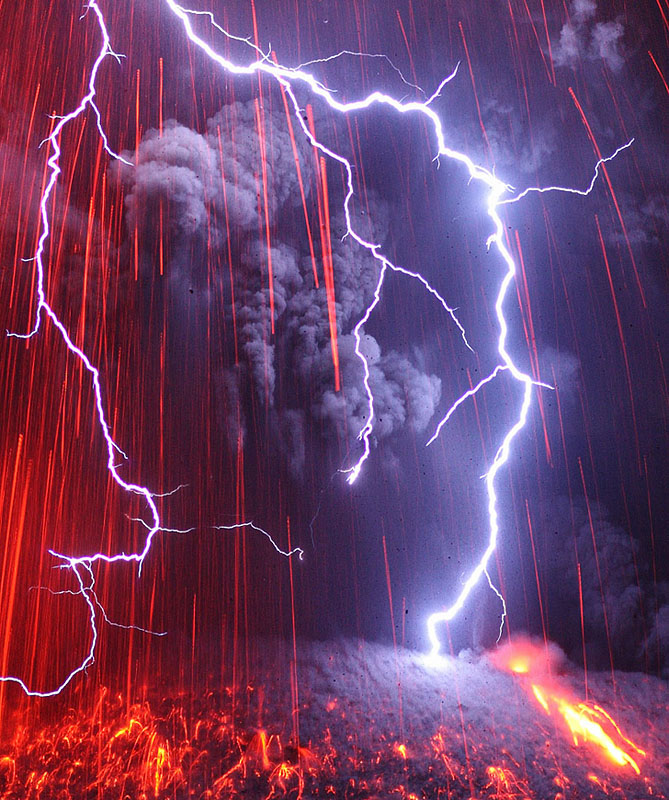 Detail shot of an active volcanic eruption causing lightning