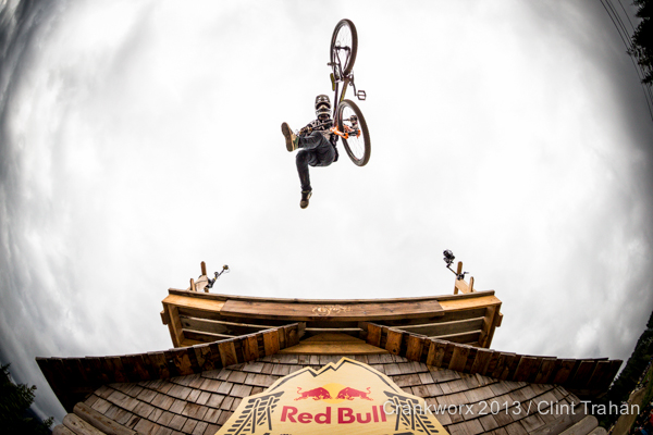 Sam Reynolds Whistler British Columbia Crankworx Red Bull Joyride house overhead shot fisheye Canon (Photo by Clint Trahan/ShutterDreams)