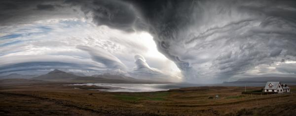 Stitched Panorama of three exposures taken in Iceland off of the highway storms clouds
