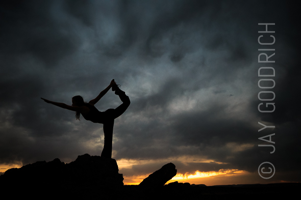 Yoga Silhouette Desert Sunset Arizona by Jay Goodrich
