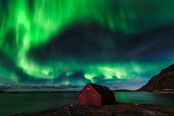 Aurora and hut - Norway