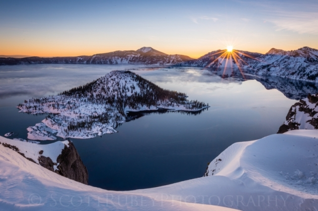 First Rays On Crater Lake by Scott Rubey