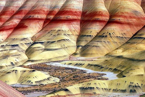 John Day Fossil Beds National Monument, Oregon close up abstract detail photograph of the striations and rock formations