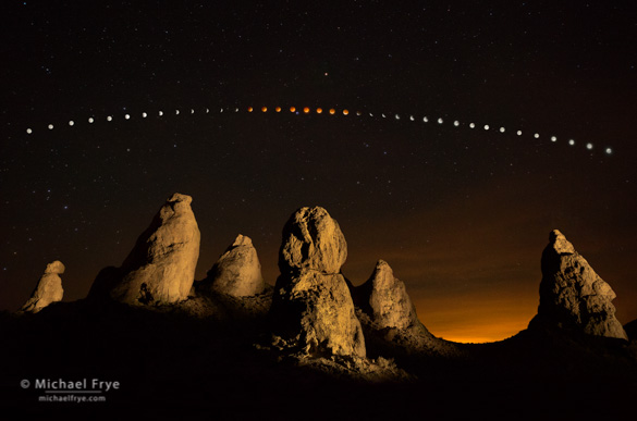 Lunar Eclipse Over the Trona Pinnacles