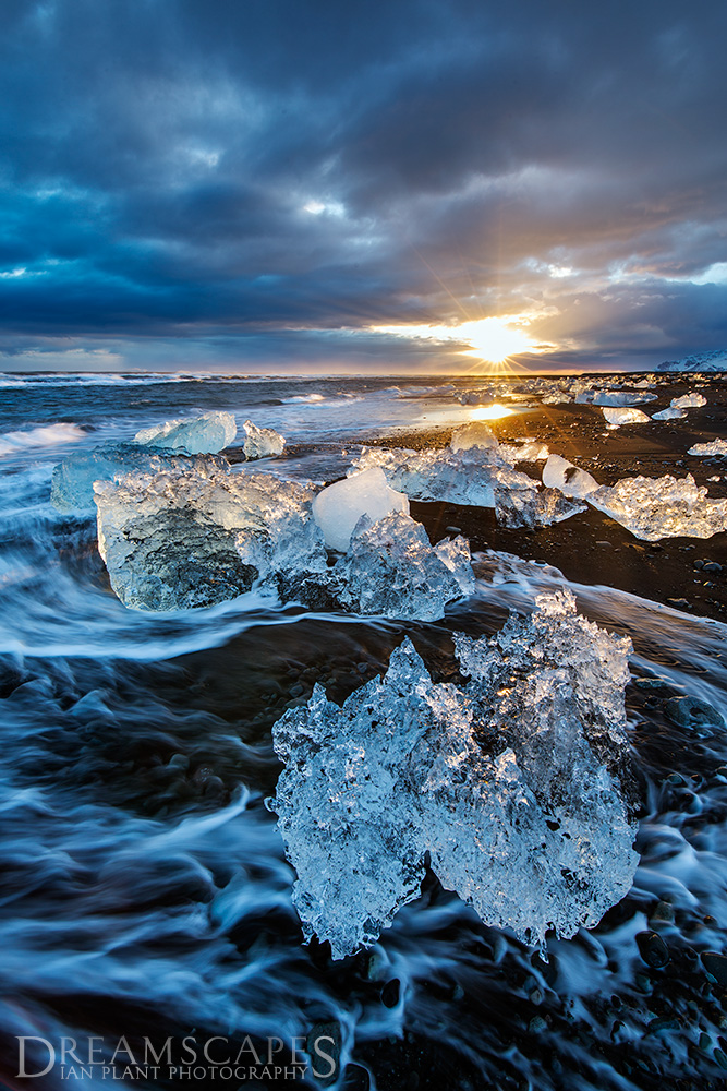 Sunset-2,-Jokulsarlon-Ice-Beach,-Iceland