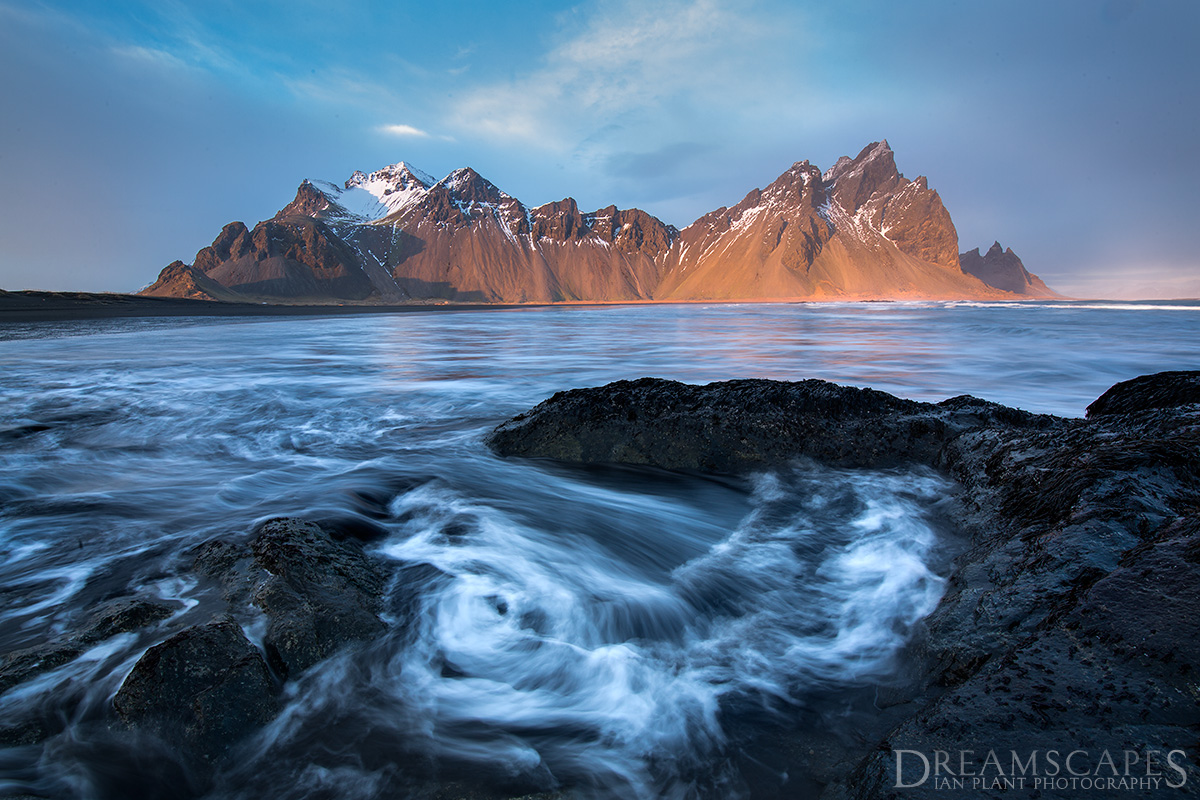 Waves-below-Vesturhorn-at-sunset-4,-Iceland