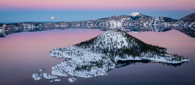 Full Moon over Wizard Island, Crater Lake NP, Oregon - Web
