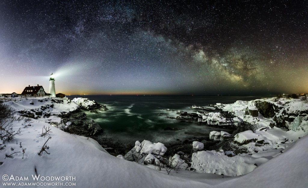 Breaking Twilight, Panorama At Portland Head Lighthouse, Maine By Adam Woodworth