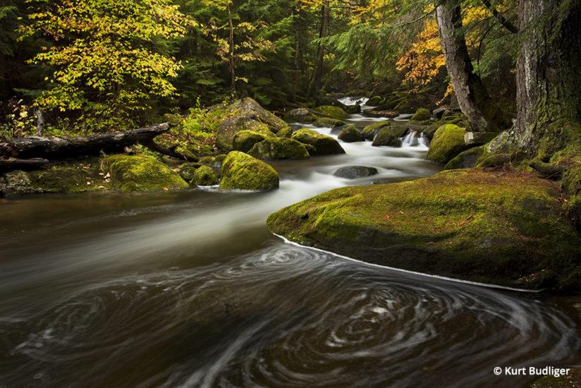 Tip 2: A long exposure creates a swirling pattern in the surface of a small stream in Groton State Forest, VT.