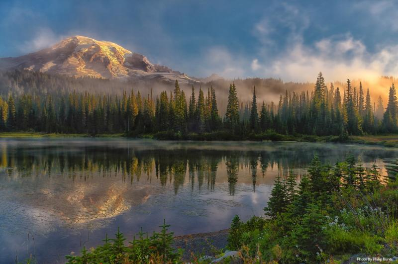 First-Light-on-Mt-Rainer